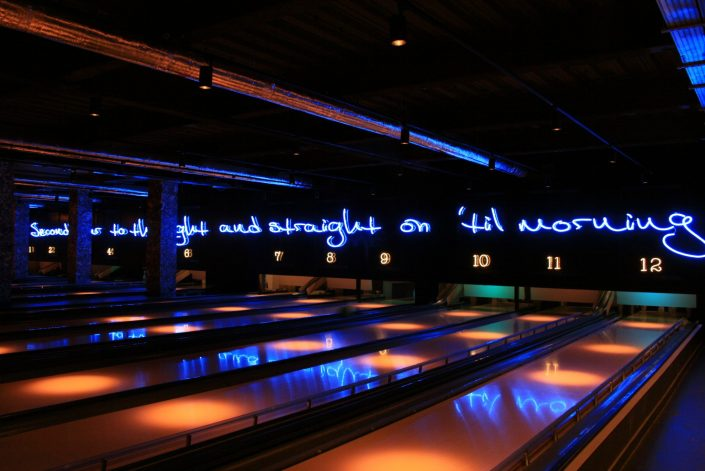 Neon blue illuminated quote
