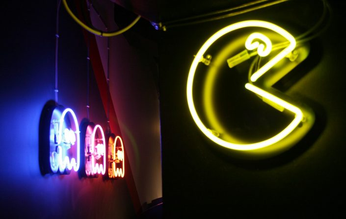 Neon multi-coloured signage